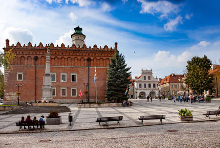 SANDOMIERZ, POLAND - OCTOBER 5, 2015: The old town hall and main square in Sandomierz.
