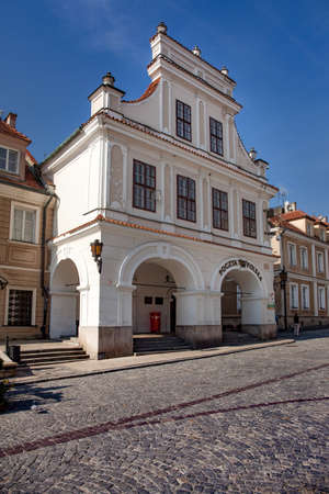 SANDOMIERZ, POLAND, OCTOBER 05, 2015: A historic tenement house, currently the Post Office.