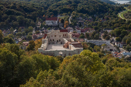 KAZIMIERZ DOLNY, POLAND, OCTOBER 09, 2015: Castle ruins on the background of the old town. Editorial