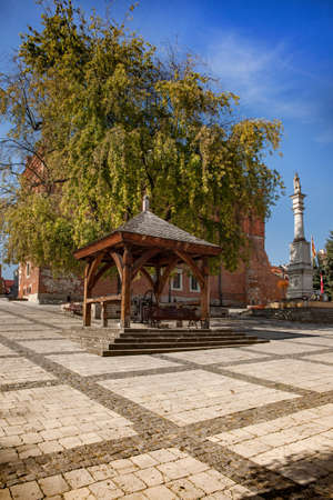 SANDOMIERZ, POLAND - OCTOBER 05, 2015: historic well on the market of the old town of Sandomierz. Editorial
