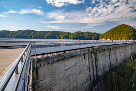 SOLINA, POLAND - 30 SEPTEMBER 2014: The dam on the San River in Poland and the water reservoir Solina.