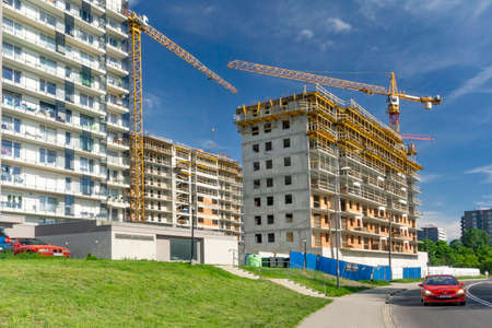 KATOWICE, POLAND - JUNE 04, 2019: construction of a residential house on the estate.