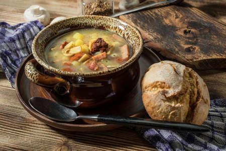 The sour soup made of rye flour. Selective focus. Reklamní fotografie