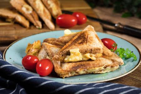 Grilled cheese sandwich on plate. Shallow depth of field. Reklamní fotografie - 133484060