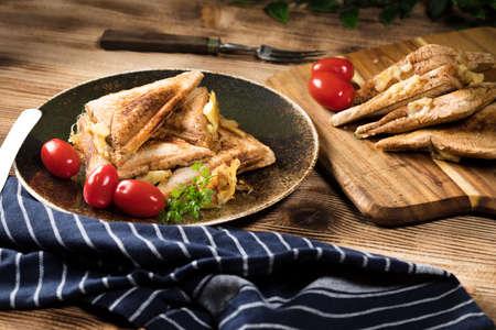 Grilled cheese sandwich on plate. Shallow depth of field. Reklamní fotografie - 133484062