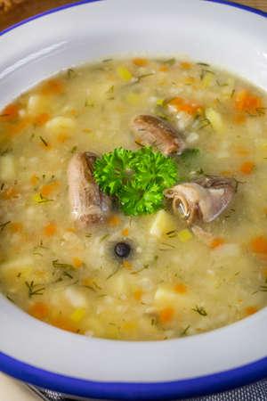 Polish barley soup with vegetables and chicken heart - krupnik.