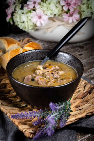 Hot tripe soup made of chicken stomach and vegetables.