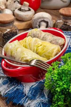 Cabbage rolls stuffed with meat and vegetables. Stock fotó