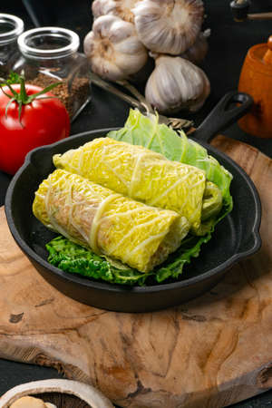 Savoy cabbage rolls stuffed with meat and vegetables. Stock fotó