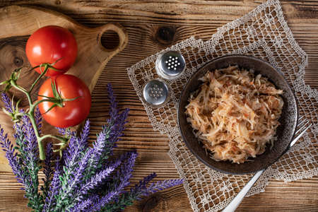 Stewed cabbage with onion and tomato is one of the most popular dish.