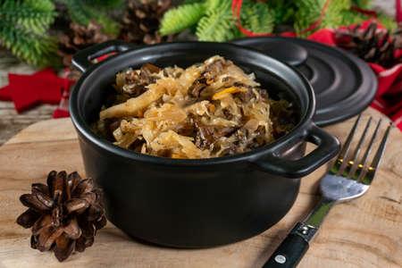 Lenten sauerkraut with mushrooms. A festive delicacy.