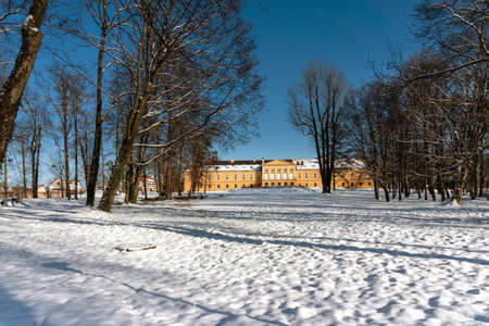 KOSZECIN, POLAND - JANUARY 31,2021: The Palace, built in the first half of 17th century, is, since 1953, the seat of the Song and Dance Ensemble