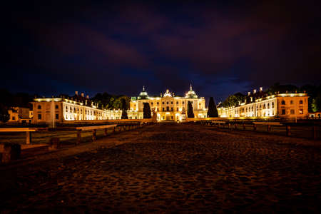BIALYSTOK, POLAND - JULY 31, 2019: Beautiful architecture of the Branicki Palace in Bialystok at dusk, Poland. Editorial