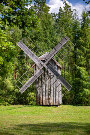 WASILKOW, POLAND - AUGUST 09.2019: Podlasie Museum of Folk Culture. Wooden windmill.
