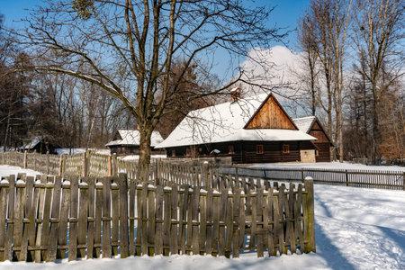 CHORZOW, POLAND - FEBRUARY 15, 2021: Upper Silesian Ethnographic Park in Chorzow.
