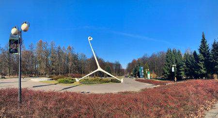 CHORZOW, POLAND - FEBRUARY 28, 2021: Sculpture of giraffe, Symbol of Silesia Park. Editorial