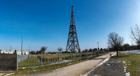 GLIWICE, POLAND - FEBRUARY 21, 2021: Old wooden radio tower, one of the symbols of the beginning of the Second World War in Poland.