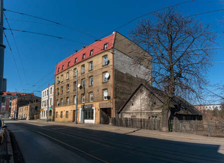 KATOWICE, POLAND - MARCH 03, 2021: Houses and tenement houses at Gliwicka Street. Editorial