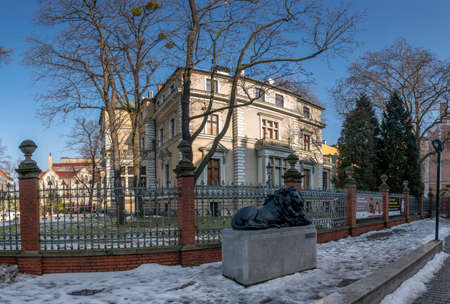 GLIWICE, POLAND - FEBRUARY 21, 2021: Historic Villa Caro. Historic residence residential industrialist Oscar Caro located in the center of Gliwice. Museum of Gliwice.