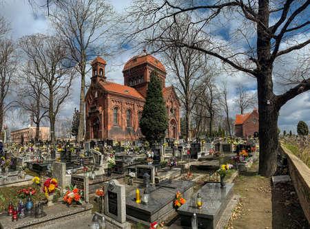 KATOWICE, POLAND - 06 APRIL, 2021: Cemetery of the Bonifraters in Katowice. The oldest necropolis in Katowice. Editorial