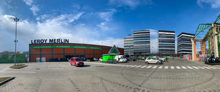 KATOWICE, POLAND - MARCH 22, 2021: Silesia Business Park office complex seen from the parking lot of the Leroy Merlin DIY store. Editorial