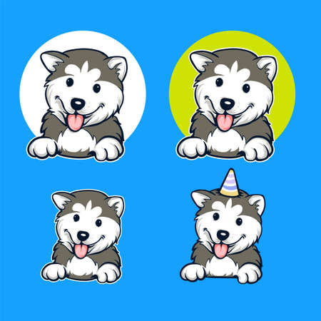 husky dog cartoon set vector