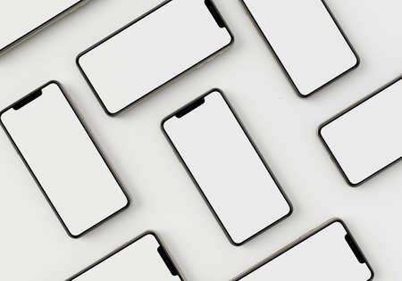 3d render illustration generic phone mock up in a white design high key Stock fotó