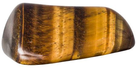 Kiesel von Tigerauge Mineral Makro isoliert auf weiß Standard-Bild - 40041647