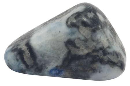 burnished: pebble grey and blue leopard skin jasper macro isolated on white
