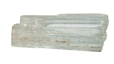 green tourmaline: Clear tourmaline crystal macro isolated on white backround