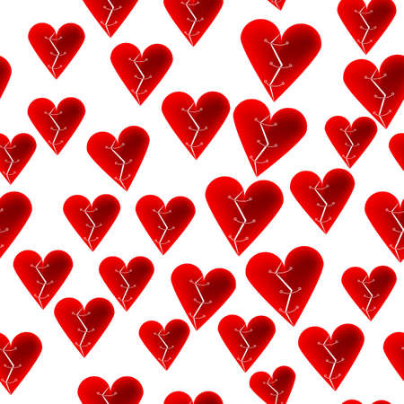 Stitched red broken hearts on white background seamless pattern for St.Valentines cards Illustration