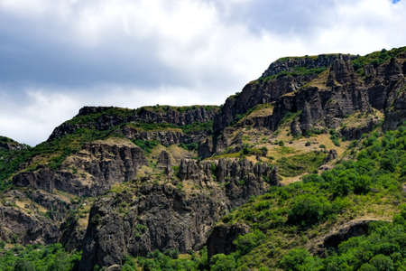View of mountains landscape in Garni, Armenia, selective focus.