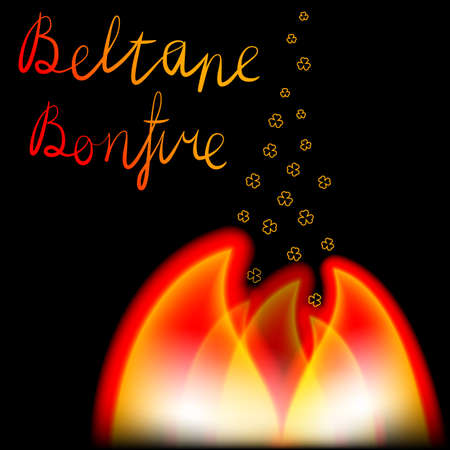 Beltane bonfire free hand lettering with fire and clover sparks vector illustration.