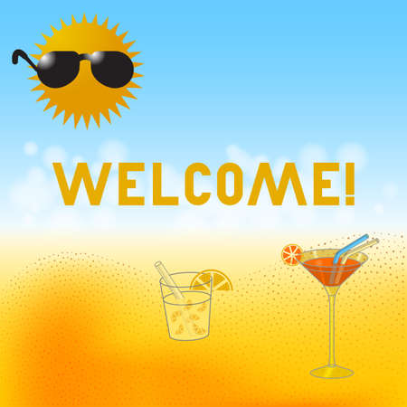 Modern lettering Welcome flat with cocktail, lemonade and icecream with cartoon sun in sunglasses against beach bokeh background vector illustration. Illustration