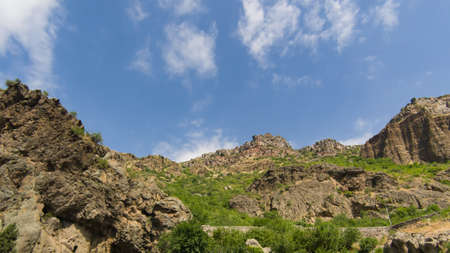 View of mountains landscape in Geghard, Armenia, selective focus. Standard-Bild - 112395176