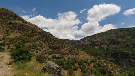 View of mountains landscape in Geghard, Armenia, selective focus. Standard-Bild - 112395182