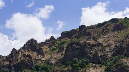 View of mountains landscape in Geghard, Armenia, selective focus. Standard-Bild - 112395184