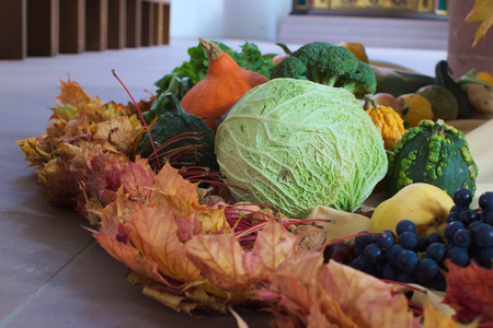 Fruits and vegetables for harvest festival