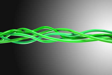 tcp ip: A 3D computer graphics creation of a Knot. 3d illustration of a knot of wires black background.