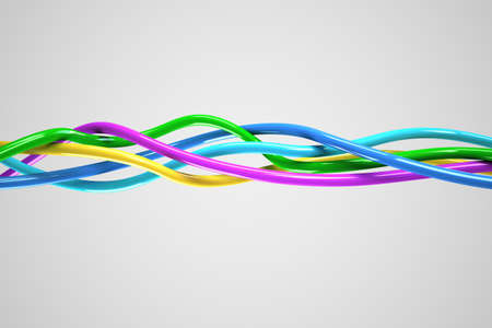 tcp: A 3D computer graphics creation of a Knot. 3d illustration of a knot of wires white background. Stock Photo