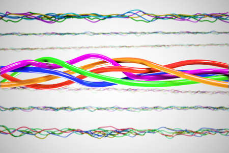 tcp: A 3D computer graphics creation of a Knot. 3d illustration of a knot of wires white background