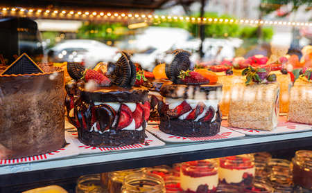Close-up view of the cakes in a shop-window
