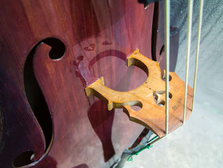 Newly repaired custom contrabass 스톡 콘텐츠