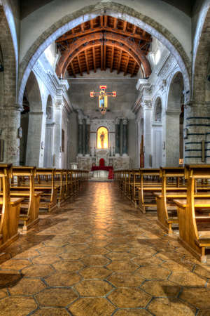 interior of an old Norman church in Sicily. HDR image. Church of caltabellotta