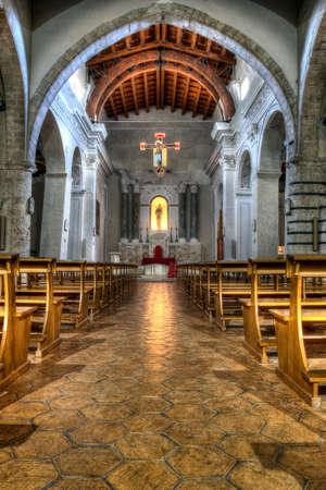 caltabellotta: interior of an old Norman church in Sicily. HDR image. Church of caltabellotta