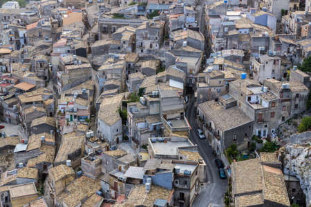 Top view of the rooftops of the Sicilian village of Caltabellotta. Stock Photo