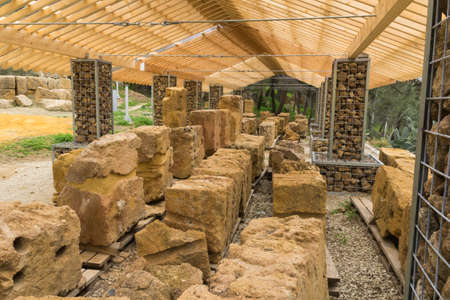 archeologist: Archaeological excavations of the Temple of Demetra, Agrigento Stock Photo