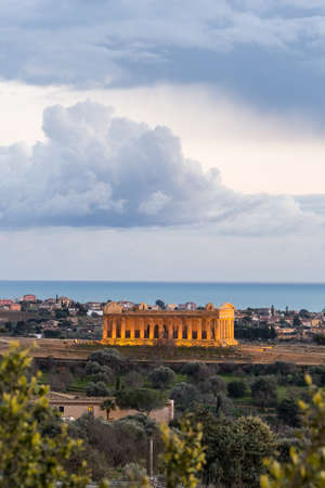 remote view: Temple of Concord. Remote point of view with sea on the background