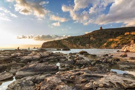 Beach of Le Pergole in Sicily, near Agrigento Imagens