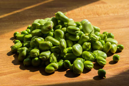 fava: Pile of Fava beans, Vicia Faba Stock Photo